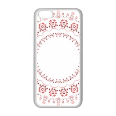 Floral Frame Pink Red Star Leaf Flower Apple Iphone 5c Seamless Case (white) by Alisyart
