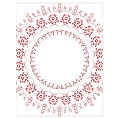 Floral Frame Pink Red Star Leaf Flower Drawstring Bag (Large)
