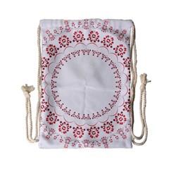 Floral Frame Pink Red Star Leaf Flower Drawstring Bag (small) by Alisyart