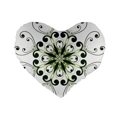 Frame Flourish Flower Green Star Standard 16  Premium Flano Heart Shape Cushions by Alisyart