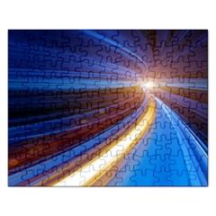 Glow Motion Lines Light Blue Gold Rectangular Jigsaw Puzzl by Alisyart