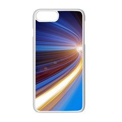 Glow Motion Lines Light Blue Gold Apple Iphone 7 Plus White Seamless Case by Alisyart