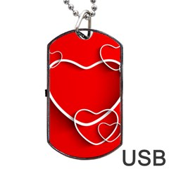 Heart Love Valentines Day Red Dog Tag Usb Flash (two Sides) by Alisyart