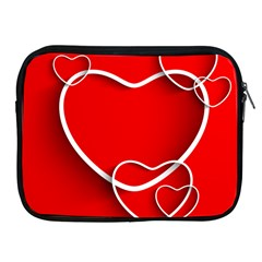 Heart Love Valentines Day Red Apple Ipad 2/3/4 Zipper Cases