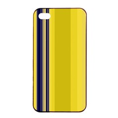 Yellow Blue Background Stripes Apple Iphone 4/4s Seamless Case (black) by Simbadda