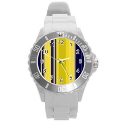 Yellow Blue Background Stripes Round Plastic Sport Watch (L) by Simbadda