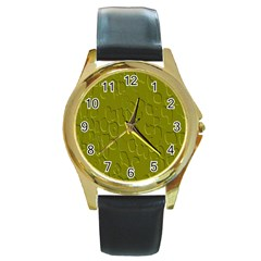 Olive Bubble Wallpaper Background Round Gold Metal Watch by Simbadda