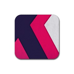 Pink Pattern Rubber Square Coaster (4 Pack)  by Simbadda