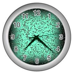 Grunge Rain Frame Wall Clocks (silver)  by Simbadda