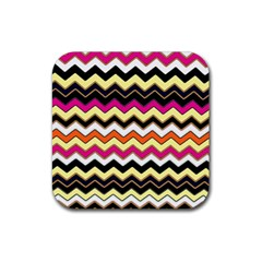 Colorful Chevron Pattern Stripes Pattern Rubber Square Coaster (4 Pack)  by Simbadda