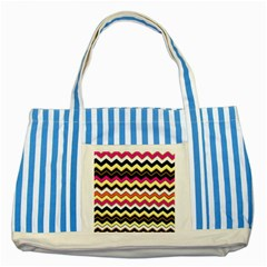 Colorful Chevron Pattern Stripes Pattern Striped Blue Tote Bag by Simbadda