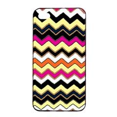 Colorful Chevron Pattern Stripes Pattern Apple Iphone 4/4s Seamless Case (black) by Simbadda