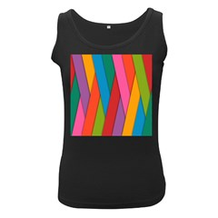 Colorful Lines Pattern Women s Black Tank Top
