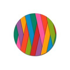 Colorful Lines Pattern Magnet 3  (Round)