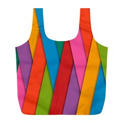 Colorful Lines Pattern Full Print Recycle Bags (l)  by Simbadda