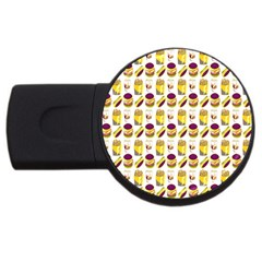 Hamburger And Fries USB Flash Drive Round (4 GB) by Simbadda