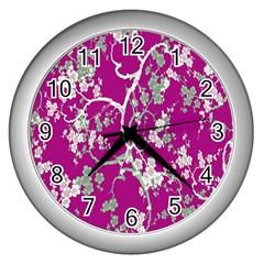 Floral Pattern Background Wall Clocks (silver)  by Simbadda