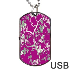 Floral Pattern Background Dog Tag Usb Flash (one Side) by Simbadda