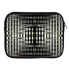 Interwoven Grid Pattern In Green Apple iPad 2/3/4 Zipper Cases