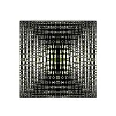 Interwoven Grid Pattern In Green Satin Bandana Scarf by Simbadda