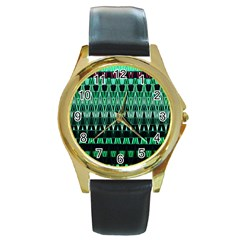 Green Triangle Patterns Round Gold Metal Watch by Simbadda