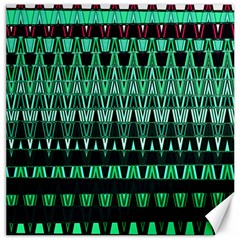 Green Triangle Patterns Canvas 16  x 16   by Simbadda
