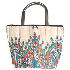 Blue Brown Cloth Design Bucket Bags by Simbadda