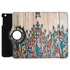 Blue Brown Cloth Design Apple Ipad Mini Flip 360 Case by Simbadda
