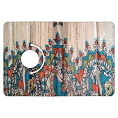 Blue Brown Cloth Design Kindle Fire Hdx Flip 360 Case by Simbadda