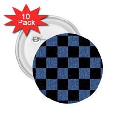 Square1 Black Marble & Blue Denim 2 25  Button (10 Pack) by trendistuff