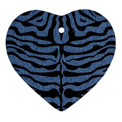 Skin2 Black Marble & Blue Denim (r) Heart Ornament (two Sides) by trendistuff