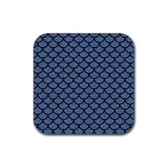 Scales1 Black Marble & Blue Denim (r) Rubber Square Coaster (4 Pack) by trendistuff