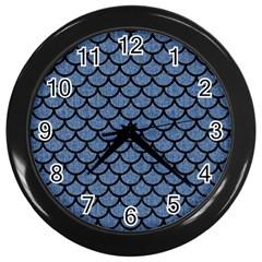 Scales1 Black Marble & Blue Denim (r) Wall Clock (black) by trendistuff