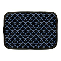 Scales1 Black Marble & Blue Denim Netbook Case (medium) by trendistuff