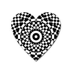 Checkered Black White Tile Mosaic Pattern Heart Magnet by CrypticFragmentsColors