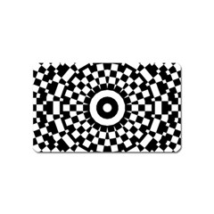 Checkered Black White Tile Mosaic Pattern Magnet (name Card) by CrypticFragmentsColors