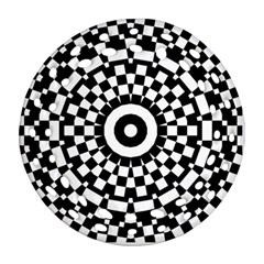 Checkered Black White Tile Mosaic Pattern Round Filigree Ornament (two Sides) by CrypticFragmentsColors