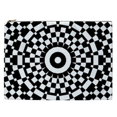 Checkered Black White Tile Mosaic Pattern Cosmetic Bag (xxl)  by CrypticFragmentsColors