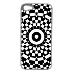 Checkered Black White Tile Mosaic Pattern Apple Iphone 5 Case (silver) by CrypticFragmentsColors
