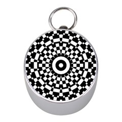 Checkered Black White Tile Mosaic Pattern Mini Silver Compasses by CrypticFragmentsColors