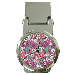 Seamless Floral Pattern Background Money Clip Watches by TastefulDesigns
