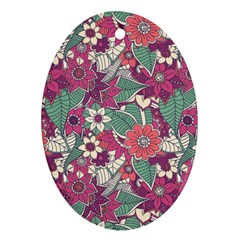Seamless Floral Pattern Background Oval Ornament (Two Sides) by TastefulDesigns