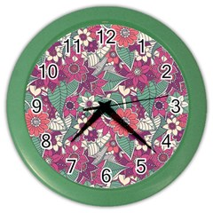 Seamless Floral Pattern Background Color Wall Clocks by TastefulDesigns