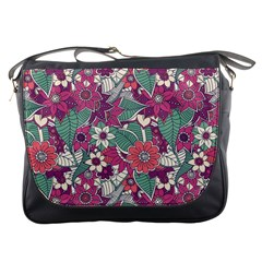 Seamless Floral Pattern Background Messenger Bags by TastefulDesigns
