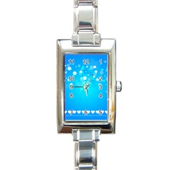 Blue Dot Star Rectangle Italian Charm Watch by Simbadda