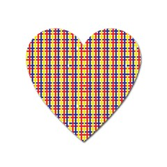 Yellow Blue Red Lines Color Pattern Heart Magnet by Simbadda