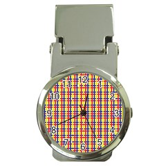 Yellow Blue Red Lines Color Pattern Money Clip Watches by Simbadda