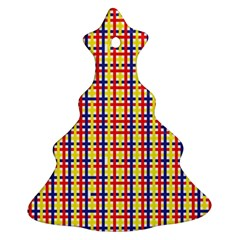Yellow Blue Red Lines Color Pattern Ornament (christmas Tree)  by Simbadda