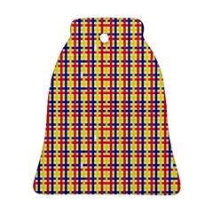 Yellow Blue Red Lines Color Pattern Ornament (bell) by Simbadda