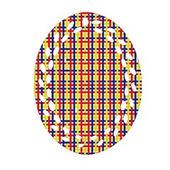 Yellow Blue Red Lines Color Pattern Ornament (oval Filigree) by Simbadda